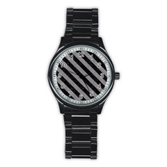 Stripes3 Black Marble & Gray Colored Pencil (r) Stainless Steel Round Watch