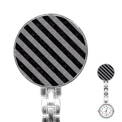 Stripes3 Black Marble & Gray Colored Pencil (r) Stainless Steel Nurses Watch