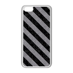 Stripes3 Black Marble & Gray Colored Pencil (r) Apple Iphone 5c Seamless Case (white)