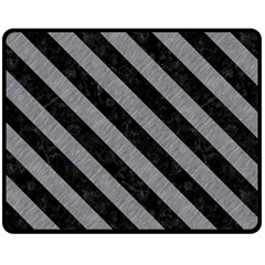Stripes3 Black Marble & Gray Colored Pencil (r) Double Sided Fleece Blanket (medium)