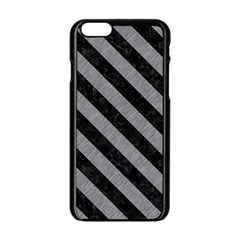 Stripes3 Black Marble & Gray Colored Pencil (r) Apple Iphone 6/6s Black Enamel Case