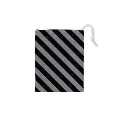 Stripes3 Black Marble & Gray Colored Pencil (r) Drawstring Pouches (xs)
