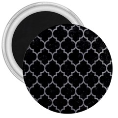 Tile1 Black Marble & Gray Colored Pencil 3  Magnets