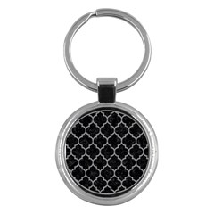 Tile1 Black Marble & Gray Colored Pencil Key Chains (round)