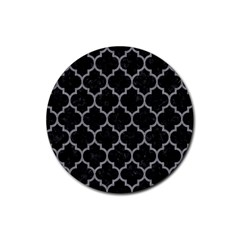 Tile1 Black Marble & Gray Colored Pencil Rubber Round Coaster (4 Pack)