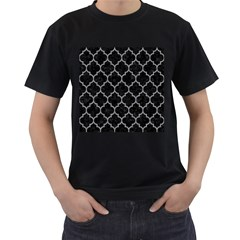 Tile1 Black Marble & Gray Colored Pencil Men s T Shirt (black) (two Sided)