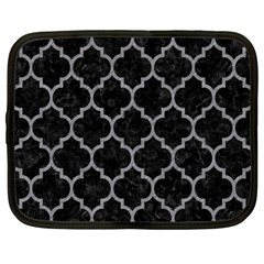 Tile1 Black Marble & Gray Colored Pencil Netbook Case (large)