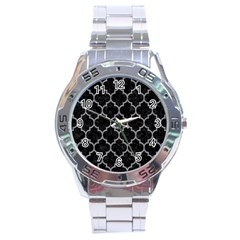 Tile1 Black Marble & Gray Colored Pencil Stainless Steel Analogue Watch