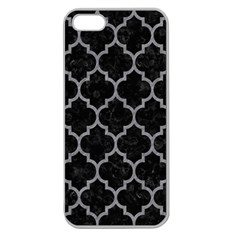 Tile1 Black Marble & Gray Colored Pencil Apple Seamless Iphone 5 Case (clear)