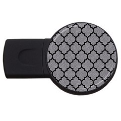 Tile1 Black Marble & Gray Colored Pencil (r) Usb Flash Drive Round (2 Gb)