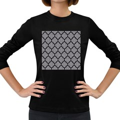 Tile1 Black Marble & Gray Colored Pencil (r) Women s Long Sleeve Dark T Shirts