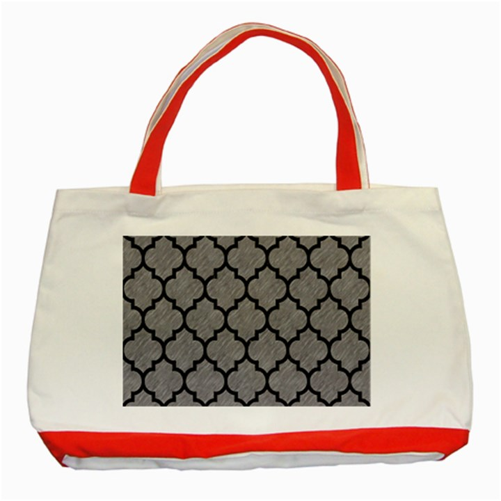 TILE1 BLACK MARBLE & GRAY COLORED PENCIL (R) Classic Tote Bag (Red)