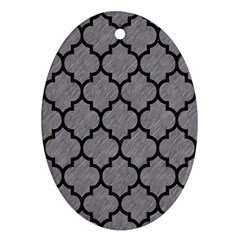 Tile1 Black Marble & Gray Colored Pencil (r) Oval Ornament (two Sides)