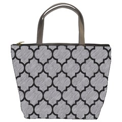 Tile1 Black Marble & Gray Colored Pencil (r) Bucket Bags