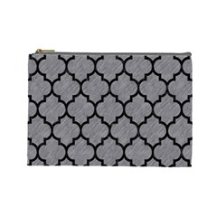 Tile1 Black Marble & Gray Colored Pencil (r) Cosmetic Bag (large)