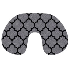 Tile1 Black Marble & Gray Colored Pencil (r) Travel Neck Pillows