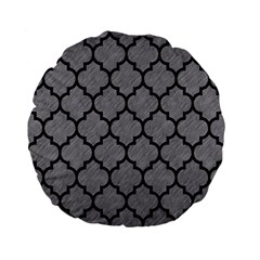 Tile1 Black Marble & Gray Colored Pencil (r) Standard 15  Premium Flano Round Cushions