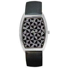 Triangle1 Black Marble & Gray Colored Pencil Barrel Style Metal Watch
