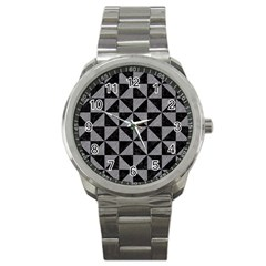 Triangle1 Black Marble & Gray Colored Pencil Sport Metal Watch