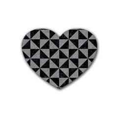 Triangle1 Black Marble & Gray Colored Pencil Rubber Coaster (heart)