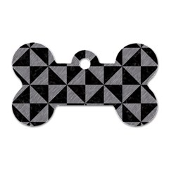 Triangle1 Black Marble & Gray Colored Pencil Dog Tag Bone (one Side)