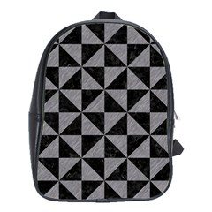 Triangle1 Black Marble & Gray Colored Pencil School Bag (large)