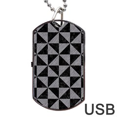 Triangle1 Black Marble & Gray Colored Pencil Dog Tag Usb Flash (two Sides)