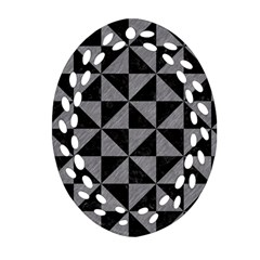 Triangle1 Black Marble & Gray Colored Pencil Oval Filigree Ornament (two Sides)