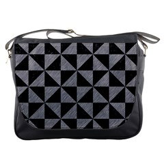 Triangle1 Black Marble & Gray Colored Pencil Messenger Bags