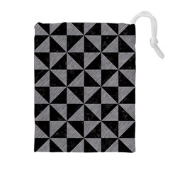 Triangle1 Black Marble & Gray Colored Pencil Drawstring Pouches (extra Large)