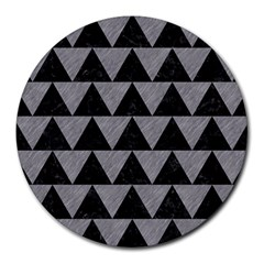 Triangle2 Black Marble & Gray Colored Pencil Round Mousepads