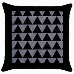 Triangle2 Black Marble & Gray Colored Pencil Throw Pillow Case (black)