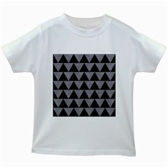 Triangle2 Black Marble & Gray Colored Pencil Kids White T Shirts