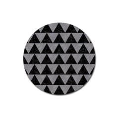 Triangle2 Black Marble & Gray Colored Pencil Magnet 3  (round)