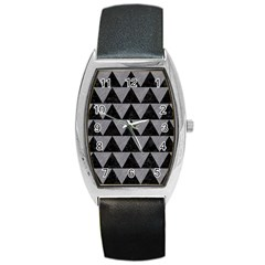 Triangle2 Black Marble & Gray Colored Pencil Barrel Style Metal Watch