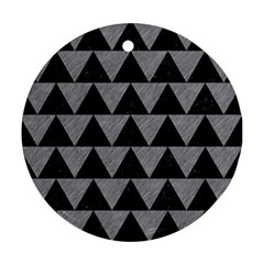 Triangle2 Black Marble & Gray Colored Pencil Round Ornament (two Sides)