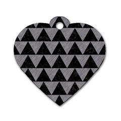 Triangle2 Black Marble & Gray Colored Pencil Dog Tag Heart (two Sides)