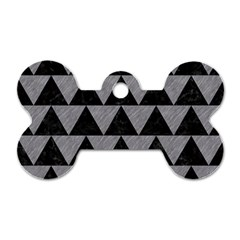 Triangle2 Black Marble & Gray Colored Pencil Dog Tag Bone (two Sides)
