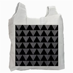 Triangle2 Black Marble & Gray Colored Pencil Recycle Bag (two Side)