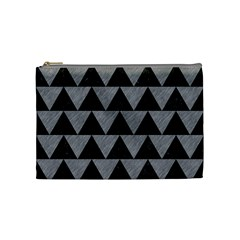 Triangle2 Black Marble & Gray Colored Pencil Cosmetic Bag (medium)