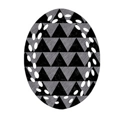 Triangle2 Black Marble & Gray Colored Pencil Oval Filigree Ornament (two Sides)