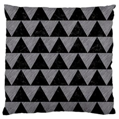 Triangle2 Black Marble & Gray Colored Pencil Large Flano Cushion Case (one Side)