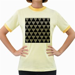 Triangle3 Black Marble & Gray Colored Pencil Women s Fitted Ringer T Shirts