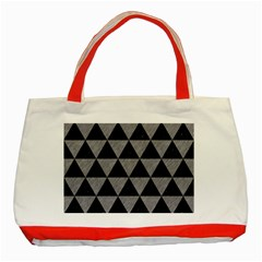 Triangle3 Black Marble & Gray Colored Pencil Classic Tote Bag (red)