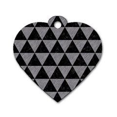 Triangle3 Black Marble & Gray Colored Pencil Dog Tag Heart (one Side)