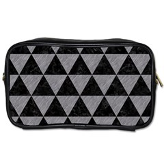 Triangle3 Black Marble & Gray Colored Pencil Toiletries Bags