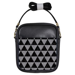 Triangle3 Black Marble & Gray Colored Pencil Girls Sling Bags