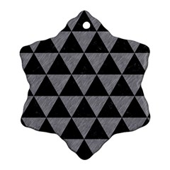 Triangle3 Black Marble & Gray Colored Pencil Snowflake Ornament (two Sides)