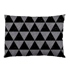 Triangle3 Black Marble & Gray Colored Pencil Pillow Case (two Sides)