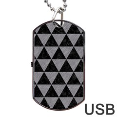 Triangle3 Black Marble & Gray Colored Pencil Dog Tag Usb Flash (two Sides)